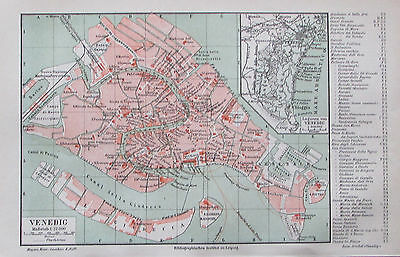 1890 VENEDIG VENICE ITALIEN  alter Stadtplan Antique City Map Lithographie