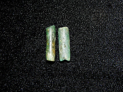 Pre-Columbian Blue Green Jade Tubular Beads, Set of 2, Authentic