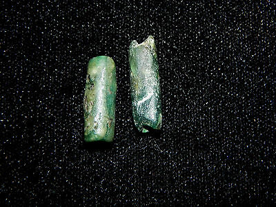 Pre-Columbian Green Jade Tubular Beads, Set of 2, Authentic