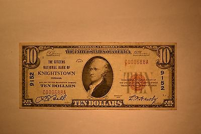 Knightstown, IN - $10 1929 Ty. 1 The Citizens NB Ch. # 9152.  Fine/VF