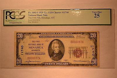 Menahga, MN - $20 1929 Ty. 1 The First NB Ch. # 11740. PCGS Very Fine 25.