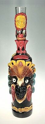 Teotihuacan Potion Tequila Bottle Mexico Mask Semi Precious Totem Folk Art