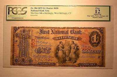 West Killingly, CT - $1 1875 Fr. 384 The First NB of Killingly Ch. # 450. PCGS