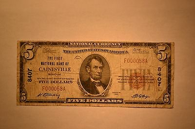 Cainesville, MO - $5 1929 Ty. 1 The First NB Ch. # 8407.  VG+