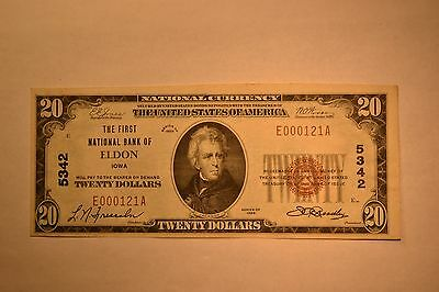 Eldon, IA - $20 1929 Ty. 1 The First NB Ch. # 5342. Extremely Fine.