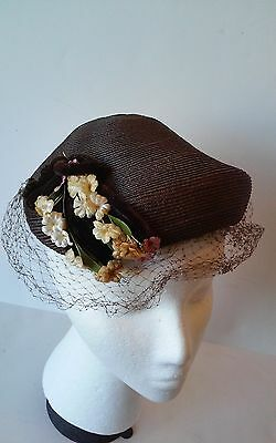 Vintage Women Hat brown straw with flower accents