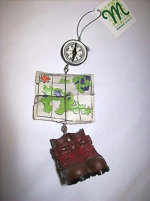 """""""Hiking"""" Dangle-style Ornament with Compass, Map, and Hiking Boots"""