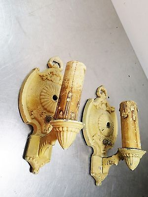 Pair 2 Antique Art Deco Single Arm MARKEL (MEP) Polychrome Wall Sconces Lights