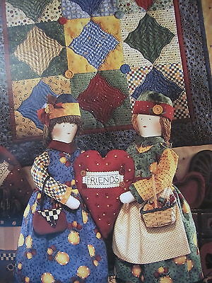 """"""" JOINED at the HEART """".. CLOTH DOLL,PILLOW & QUILT Pattern... By Debbie Mum"""