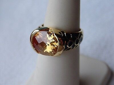 Kenneth Jay Lane KJL Designer Citrine Color Ring Size 6 With Box Pouch