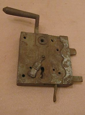 large rare antique handmade 1700s wrought iron skeleton key door lock hardware