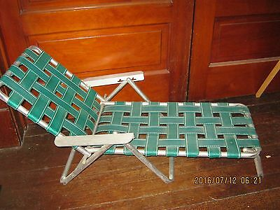 Vintage Child's Green White Aluminum Webbed Folding Lawn Chair, Chaise Lounge