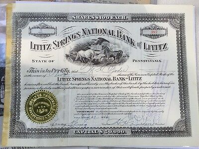 Vintage Lititz Springs National Bank Stock Certificate