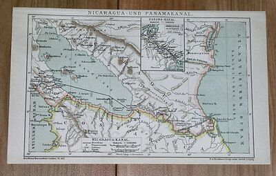 1900 Original Antique Map Of Lake Nicaragua Canal / Costa Rica