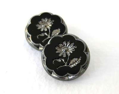 Vintage Flower Buttons Glass Silver Black Intaglio Czech 18mm