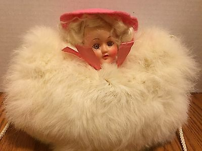 Antique Young Girl Childs White Rabbit Hand Muff with Doll Head and Fur Hat