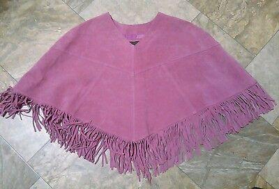 Brandon Thomas 100% Suede Leather Top Poncho Size XS Solid Pink EUC Fringes NICE