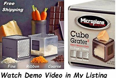 Microplane 3-in-1 Cube Grater Catcher Box Stainless Steel Fine Ribbon Coarse