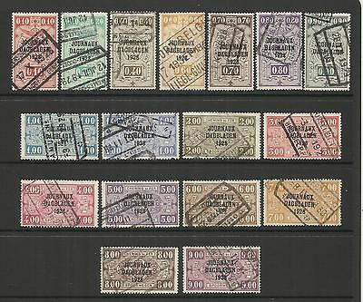 Belgium ~ 1928 Newspaper O/p On Railway Parcel Stamps (Used)