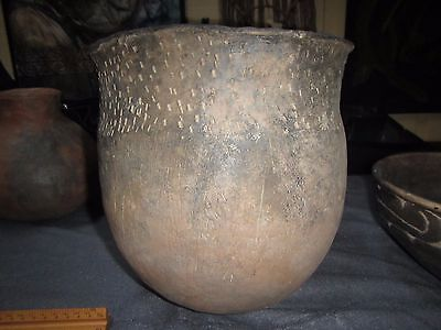 Authentic Ancient Native American Caddo Indian Pottery Brushed Punctate Rim Jar