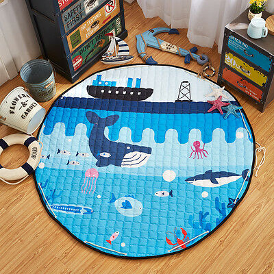 Soft Cotton Kids Game Play Round Mat Crawling Blanket Floor Rug Cute Home School