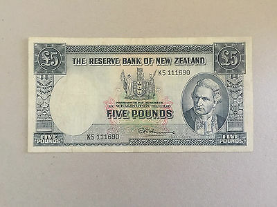 New Zealand Five Pound 1955-1967  Fleming Vf  K5 111690