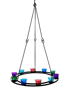 Tea Light Chandelier (Single Tier) Multi Coloured Glass by Bell Tent Boutique