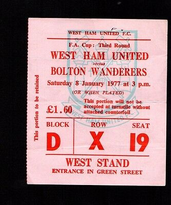 Vintage 1976-1977 FA Cup West Ham United v Bolton Wanderers Ticket   POST FREE