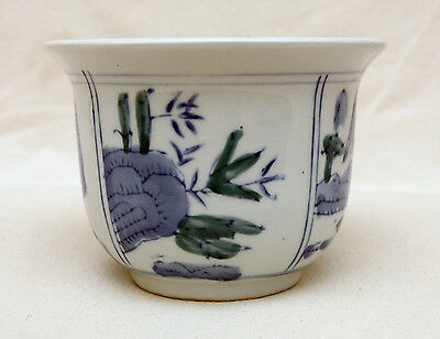 Small White Hand Painted Chinese Ceramic Flower Pot Planter Blue Designs 12.5cm