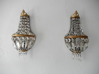 ~OLD Big French Crystal Prisms Bronze Sconces Empire Rare Beautiful Vintage~