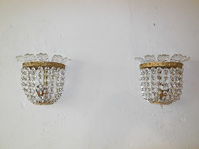 ~c 1920 BACCARAT French Crystal Prisms Bronze Sconces Empire Rare Beautiful~