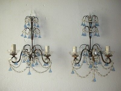 ~c 1920 French Periwinkle Murano Bells Crystal Lavander Spears Sconces WOW~