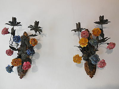 ~c 1900 French Tole Porcelain Flowers Sconces Vintage Original Old Gilt Wood!~