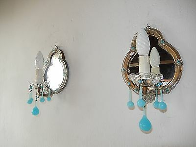 ~c 1940 French RARE Blue Aqua OPALINE Drops & Beads Murano Mirror Sconces~