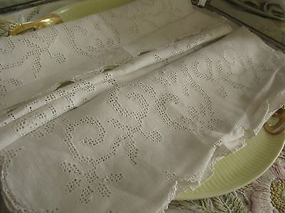 """Pair Hand Embroidered Punchwork Fine Pure Linen Runners 16X44"""", Superb Beauties!"""