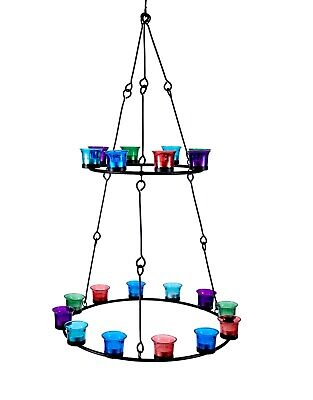Tea Light Chandelier (Double Tier) Multi Coloured Glass by Bell Tent Boutique