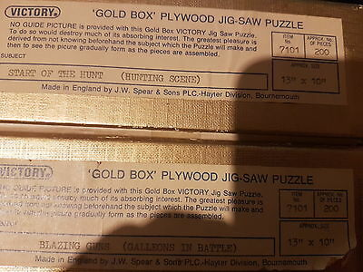 2 vintage viictory gold box  jigsaw puzzles