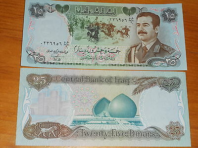Middle East, Sadam Hussein banknote 25 Dinars 1986 in UNC, Krause #73 $7.50