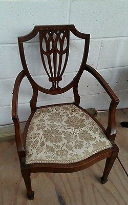 Beautiful antique inlaid chair,  lovely shaped back, detauled inlay