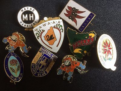 Lot of Australian & foreign Athletics club sports enamel pins and badges