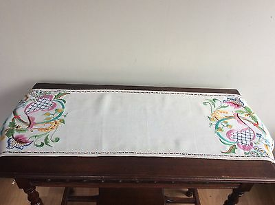 Vintage hand embroidered runner with Jacobean design