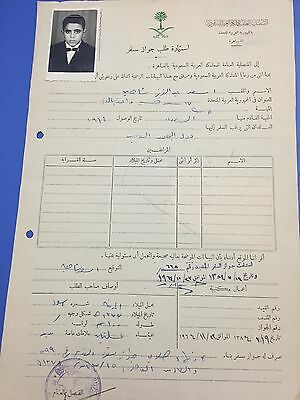 Saudi Arabia 1964 Application For Passport Signed G. Counsular