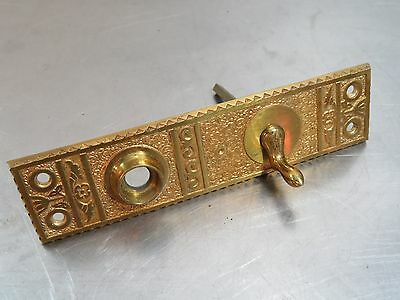 Antique Vintage Eastlake Brass/Bronze DOOR BELL Crank Turn Knob Plate Hardware