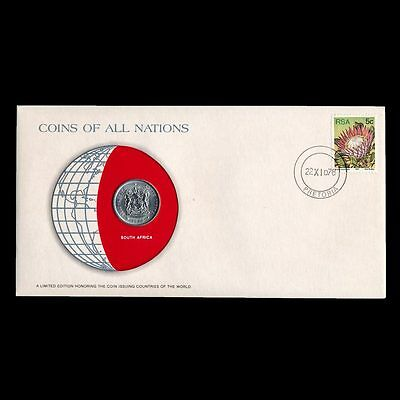 South Africa 20 Cents 1978 Fdc ─ Coins Of All Nations Uncirculated Stamp Cover