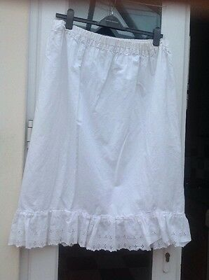 Vintage White Cotton Broderie Anglaise Slip Underskirt