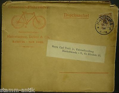 Firm.Briefumschlag 1899,Crescent Fahrrad,Hammacher,Delius & Co ,Hamburg,New York