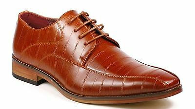 Men's Dress Shoes UVSignature Oxford Lace Brown Italian Manmade Leather