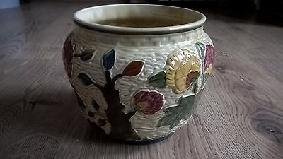 Vintage Hand Painted Hj Wood Indian Tree - Vase Or Planter - Excellent Condition