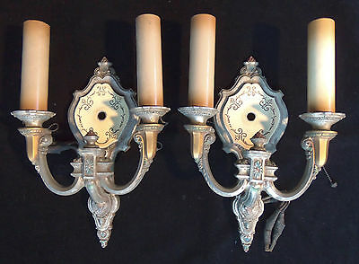 1920s VINTAGE RIDDLE POLYCHROME WALL SCONCE CANDELABRAS LIGHTS #754 PAIR