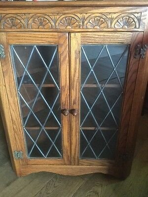 jaycee Oak Corner Unit With Leaded Glass ( Collection Only )